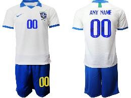 Mens 19-20 Soccer Brazil National Team ( Custom Made ) White Nike Short Sleeve Suit Jersey