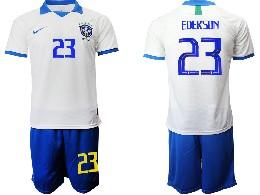 Mens 19-20 Soccer Brazil National Team #23 Ederson White Nike Short Sleeve Suit Jersey