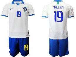 Mens 19-20 Soccer Brazil National Team #19 Willian White Nike Short Sleeve Suit Jersey