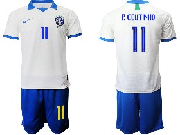 Mens 19-20 Soccer Brazil National Team #11 P.coutinho White Nike Short Sleeve Suit Jersey