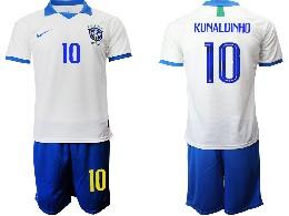 Mens 19-20 Soccer Brazil National Team #10 Ronaldinho White Nike Short Sleeve Suit Jersey