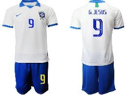 Mens 19-20 Soccer Brazil National Team #9 G.jesus White Nike Short Sleeve Suit Jersey