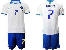 Mens 19-20 Soccer Brazil National Team #7 D.costa White Nike Short Sleeve Suit Jersey