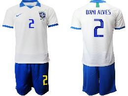 Mens 19-20 Soccer Brazil National Team #2 Dani Alves White Nike Short Sleeve Suit Jersey