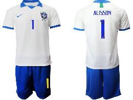 Mens 19-20 Soccer Brazil National Team #1 Alisson White Nike Short Sleeve Suit Jersey