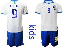 Youth 19-20 Soccer Brazil National Team #9 G.jesus White Nike Short Sleeve Suit Jersey