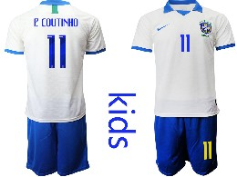 Youth 19-20 Soccer Brazil National Team #11 P.coutinho White Nike Short Sleeve Suit Jersey