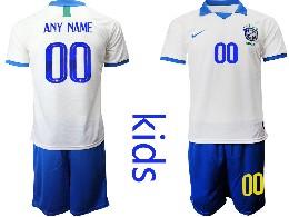 Youth 19-20 Soccer Brazil National Team ( Custom Made ) White Nike Short Sleeve Suit Jersey