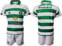 Mens 19-20 Soccer Celtic Club ( Custom Made ) Green And White Stripe Home Short Sleeve Suit Jersey