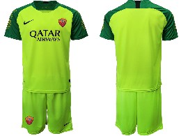 Mens 19-20 Soccer As Roma Club ( Custom Made ) Green Goalkeeper Short Sleeve Suit Jersey