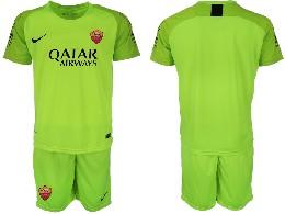 Mens 19-20 Soccer As Roma Club ( Custom Made ) Fluorescent Green Goalkeeper Short Sleeve Suit Jersey