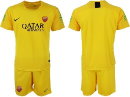 Mens 19-20 Soccer As Roma Club ( Custom Made ) Yellow Goalkeeper Short Sleeve Suit Jersey