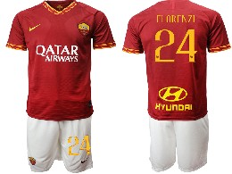 Mens 19-20 Soccer As Roma Club #24 Florenzi Red Home Short Sleeve Suit Jersey