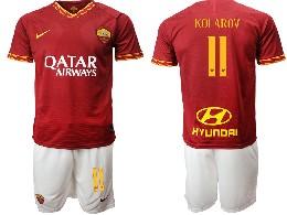 Mens 19-20 Soccer As Roma Club #11 Kolarov Red Home Short Sleeve Suit Jersey