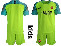Youth 19-20 Soccer As Roma Club ( Custom Made ) Fluorescent Green Goalkeeper Short Sleeve Suit Jersey