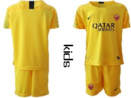 Youth 19-20 Soccer As Roma Club ( Custom Made ) Yellow Goalkeeper Short Sleeve Suit Jersey