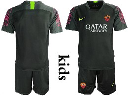 Youth 19-20 Soccer As Roma Club ( Custom Made ) Black Goalkeeper Short Sleeve Suit Jersey