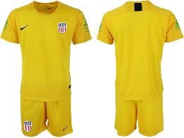 Mens 19-20 Soccer Usa National Team ( Custom Made ) Yellow Goalkeeper Short Sleeve Suit Jersey