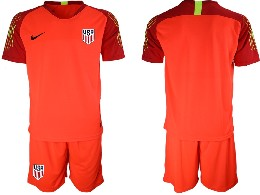 Mens 19-20 Soccer Usa National Team ( Custom Made ) Red Goalkeeper Short Sleeve Suit Jersey