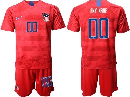 Mens 19-20 Soccer Usa National Team ( Custom Made ) Nike Red Away Short Sleeve Suit Jersey