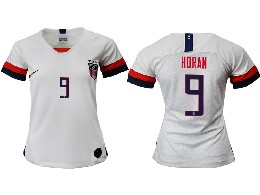 Women 19-20 Soccer Usa National Team #9 Horan White Home Short Sleeve Thailand Jersey