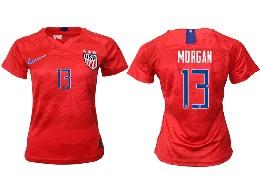 Women 19-20 Soccer Usa National Team #13 Morgan Red Away Short Sleeve Thailand Jersey