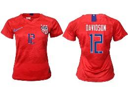 Women 19-20 Soccer Usa National Team #12 Davidson Red Away Short Sleeve Thailand Jersey