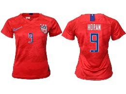 Women 19-20 Soccer Usa National Team #9 Horan Red Away Short Sleeve Thailand Jersey