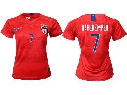 Women 19-20 Soccer Usa National Team #7 Dahlkemper Red Away Short Sleeve Thailand Jersey