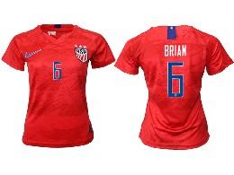 Women 19-20 Soccer Usa National Team #6 Brian Red Away Short Sleeve Thailand Jersey