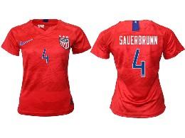 Women 19-20 Soccer Usa National Team #4 Sauerbrunn Red Away Short Sleeve Thailand Jersey