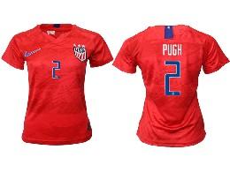 Women 19-20 Soccer Usa National Team #2 Pugh Red Away Short Sleeve Thailand Jersey