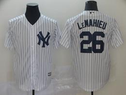 Mens Mlb New York Yankees #26 Dj Lemahieu White Stripe Cool Base Jersey