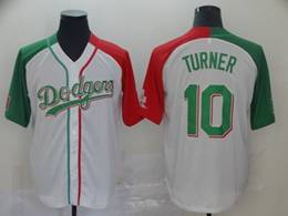 Mens Majestic Los Angeles Dodgers #10 Justin Turner White Half Edition Cool Base Jersey