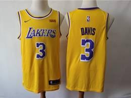 Mens 2019 New Nba Los Angeles Lakers #3 Davis Yellow Swingman Nike Jersey