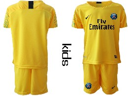 Youth 19-20 Soccer Paris Saint Germain ( Blank ) Yellow Goalkeeper Short Sleeve Suit Jersey