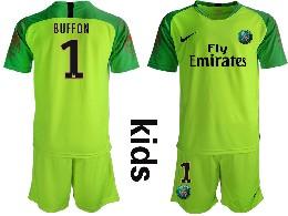 Youth 19-20 Soccer Paris Saint Germain #1 Buffon Green Goalkeeper Short Sleeve Suit Jersey