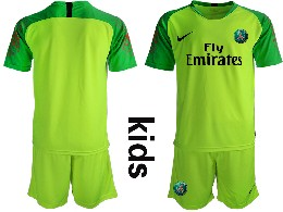 Youth 19-20 Soccer Paris Saint Germain ( Blank ) Green Goalkeeper Short Sleeve Suit Jersey