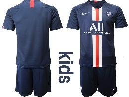 Youth 19-20 Soccer Paris Saint Germain ( Blank ) Dark Blue Home Short Sleeve Suit Jersey