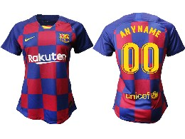 Women 19-20 Soccer Barcelona Club ( Custom Made ) Red And Blue Stripe Home Thailand Jersey