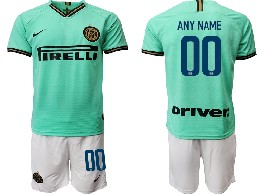 Mens 19-20 Soccer Inter Milan Club ( Custom Made ) Green Away Short Sleeve Suit Jersey