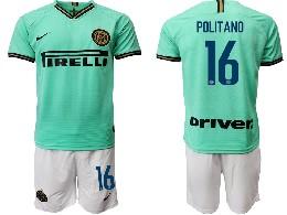 Mens 19-20 Soccer Inter Milan Club #16 Politano Green Away Short Sleeve Suit Jersey