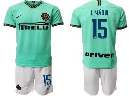 Mens 19-20 Soccer Inter Milan Club #15 J.mario Green Away Short Sleeve Suit Jersey