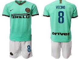 Mens 19-20 Soccer Inter Milan Club #8 Vecino Green Away Short Sleeve Suit Jersey
