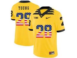 Mens 2019 New Ncaa Nfl Iowa Hawkeyes #28 Toren Young Yellow Printed Fashion Jersey