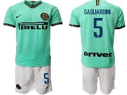 Mens 19-20 Soccer Inter Milan Club #5 Gagliardini Green Away Short Sleeve Suit Jersey