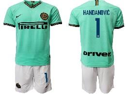 Mens 19-20 Soccer Inter Milan Club #1 Handanovic Green Away Short Sleeve Suit Jersey