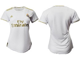 Women 19-20 Soccer Real Madrid Club ( Custom Made ) Home Short Sleeve Suit Jersey