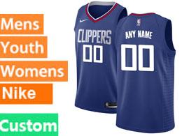 Mens Nba Nike Los Angeles Clippers Custom Made Blue Swingman Jersey