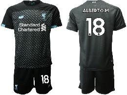 Mens 19-20 Soccer Liverpool Club #18 Alberto.m Black Second Away Short Sleeve Suit Jersey
